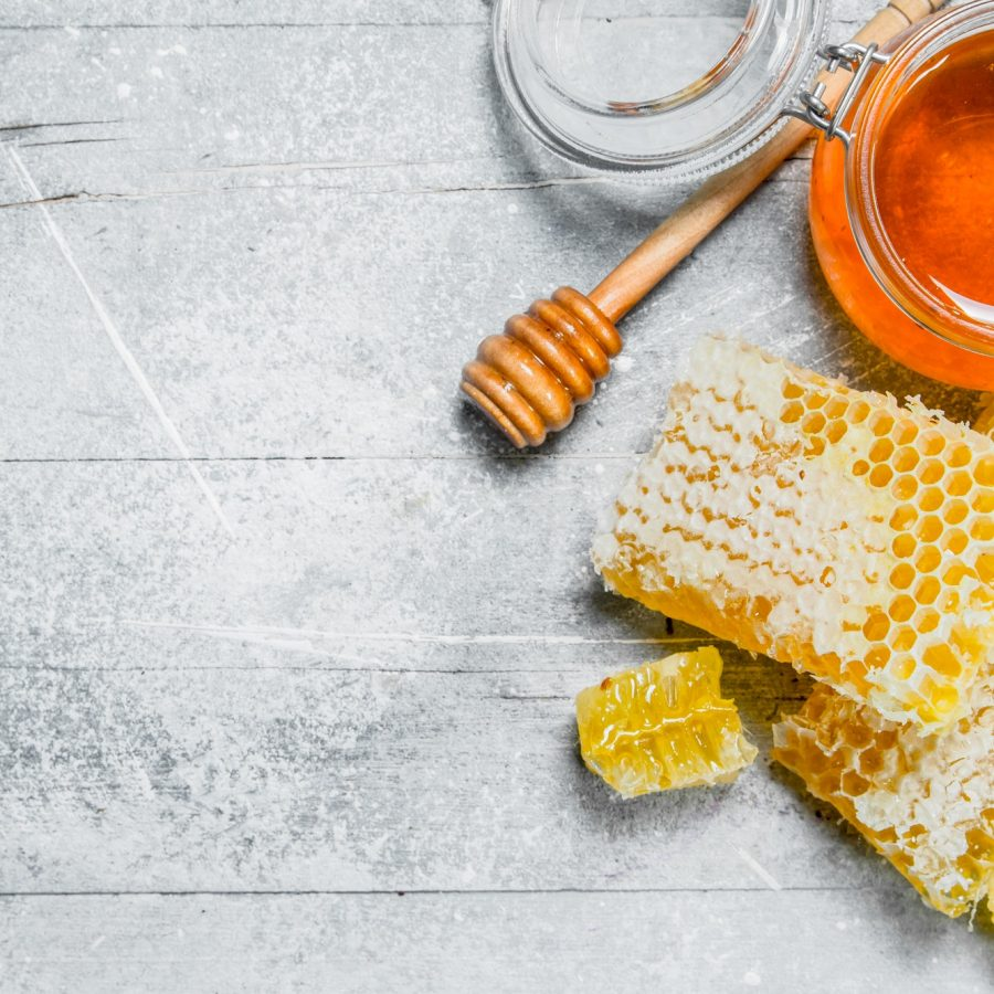 Natural honey in honeycombs.